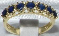 Solid 14ct Yellow Gold Natural Sapphire Womens Band Ring - Sizes J to Z