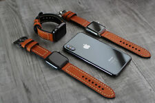 For Apple Watch 4 3 38/40/42/44mm Genuine Orange Leather Strap Wrist iwatch Band