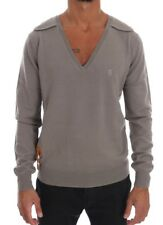 TSH1196 Galliano Gray Knitted 100% Wool V-neck Pullover Sweater