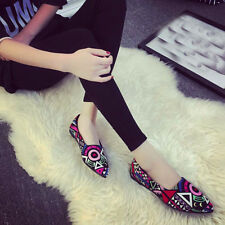 Women Casual Multicolor Ballet Slip On Flats Loafers Shoes Pointed Toe Geometric