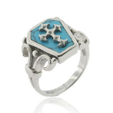 Stainless Steel Cross Turquoise Simulated Coffin Shape Signet Men's Ring