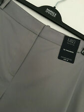 LADIES M&S SIZE 20 MEDIUM GREY 7/8TH LENGTH COTTON STRETCH TROUSERS FREE POST