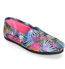 NEW  WOMENS 6 TOMS BLACK MULTI CANVAS PRINTED PALMS CLASSIC SLIP ON SHOES