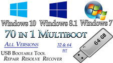 WINDOWS 10, 8.1, 7 ALL VERSIONS Multi Boot ✅64GB USB 32/64bit✅INSTALL UPGRADE