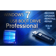 WINDOWS 7 PRO✅64GB USB 32/64bit✅Install Recover Restore PC Fix PROFESSIONAL