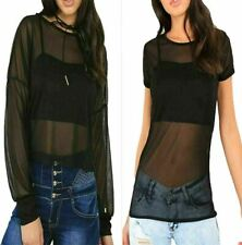 Womens Long Loose Cuff Sleeve Sheer Mesh Top Ladies Short Sleeve See Through Top