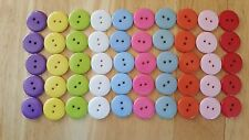 50 x 23mm Resin Buttons 2-Hole 10 Colours White Yellow Pink Blue Green Fuschia