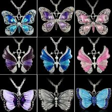 Vintage Crystal Rhinestone Butterfly Animal Pendant Necklace Sweater Chain Gift