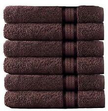 Cotton Craft - 6 Pack - Ultra Soft Extra Large Hand Towels 16X28 Chocolate- 100%
