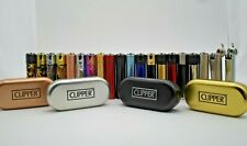 Clipper Metal Lighters With Metal Gift Tin Case Refillable Multi Colors Free Tin