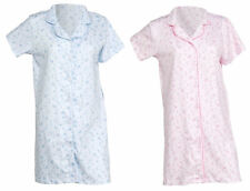 Womens Night Shirt Cotton Button Down Short Sleeved Floral Nighty Nightdress