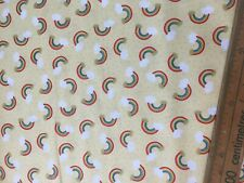Cotton Fabric Fat Quarter quilting Lewis and Irene Ditsy Rainbows pot of Gold