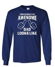 THIS IS WHAT AN AWESOME DAD LOOKS LIKE - Unisex Cotton Long Sleeved T-Shirt