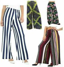 Ladies Floral Printed Stripes Wide Leg Baggy Palazzo Womens Party Wear Trousers