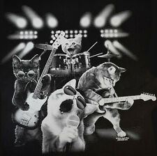 Funny Cat T Shirt Rock and Roll Kitty Band Mens Sizes Small to 6XL and Tall