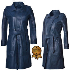Women's Ladies Fashion Biker Long Sleeves Leather Trench Parka Coat Belt Jacket