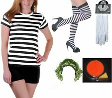Womens Chocolate Factory Worker Striped Top Gloves Wig Face Paint Stocking Set