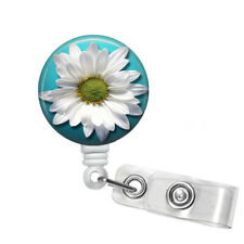 White Daisy Badge Reel Retractable ID Badge Holder, 292A