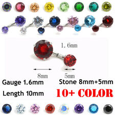 316l Surgical Steel Belly Button Ring Bar Navel Crystal Prong Set