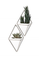 Umbra Trigg Hanging Vase Wall Decor- Set of 2 White - Nickel