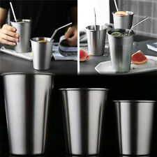 Stainless Steel Cup Mug Drinking Coffee Beer Tumbler Picnic Camping `Travel T BS