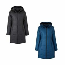 Womens Padded Jacket Plain Fleece Lined Pockets 3/4 Lenghth Coat Simply Be