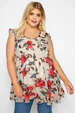 Yours Clothing Women's Plus Size Cream Floral Chiffon Smock Top