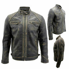 Men's Leather Jacket Vintage Distressed Racing Biker Casual Zipped 100% Quilted