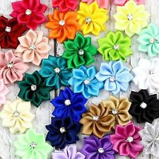 10-50Pcs U pick Mini Satin Ribbon Flowers bows Appliques Craft DIY Wedding Decor