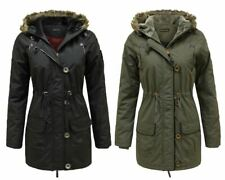 LADIES WOMENS FAUX FUR HOODED MILITARY PARKA JACKET WARM WINTER ZIP UP COAT 8-16