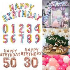 Rainbow Rose Gold Number 0-9 Age Happy Birthday Party Balloons Arch Kit Garland