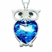 Women's Owl Heart Crystal Pendant Necklace The Night Guardians Sweater Chain Lov