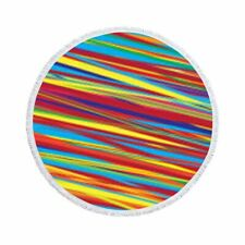 Rainbow Striped Round Beach Microfiber Towel Blanket Wall Tapestry Home Decor