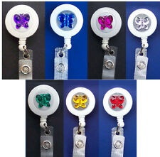 BUTTERFLY Retractable ID Holder Badge Reel Security Card Key Ring Keychain