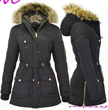 NEW Womens WINTER COAT MILITARY LADIES PARKA Quilted PUFFER JACKET WARM FUR SIZE