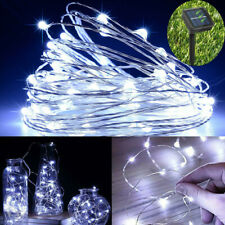 UK LED Solar String Light Cool White Waterproof Copper Wire Fairy Outdoor Garden
