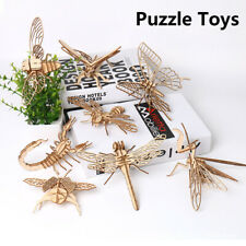 Baby Toys 3D DIY Wooden Puzzle Insect Animal Handmade Educational Assembly Toys