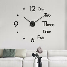 DIY Mirror Wall Clock 3D Mirror Surface Sticker Home Office Decor Clock (Large)