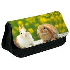 Personalised NAME Bunny Print Pencil Case Makeup Bag for Stationery/Cosmetic - 9