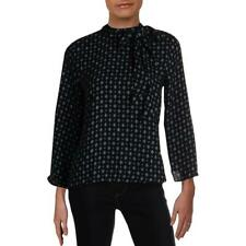 Vince Camuto Womens Tie-Neck Printed Bell Sleeves Blouse Shirt BHFO 5961