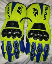 Suzuki MotoGp Motorbike Leather Racing Gloves All Sizes Available