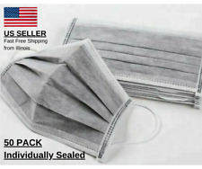 Medical Face Masks 4-ply 99% Bacterial Filtration Carbon w/Ear Loops Disposable