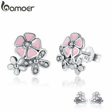 925 Sterling Silver Poetic Daisy Cherry Blossom Drop Earrings Mixed & Clear CZ