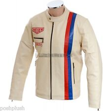Steve McQueen Grand Prix Cream Black or Brown Casual Quilted Soft Leather Jacket