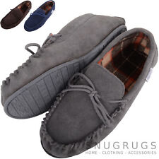 SNUGRUGS MENS GENUINE SUEDE MOCCASIN SLIPPERS BROWN TARTAN STYLE COTTON LINED