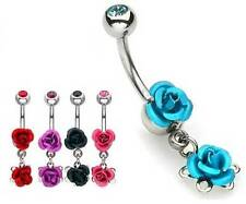 Double Rose - Dangle Belly Bar - Choose Colour: Blue Red Black Pink or Purple