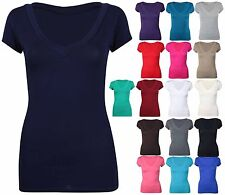 Ladies Short Cap Sleeve Plain Top Womens New Stretch Fitted V Neck Basic T-Shirt