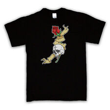 SKULL AND ROSE TATTOO GRAPHIC PRINT T SHIRT ALL COLOURS AND SIZES