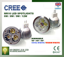 MR16 GU5.3 6W/8W/9W DIMMABLE CREE LED 12V LAMPE AMPOULES COOL WARM DAY WHITE CE