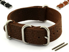 Genuine Leather NATO Watch Strap Band VINTAGE Style (3/4 rings) Brushed Buckle